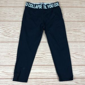TIL YOU COLLAPSE Black Logo Waistband Crop Legging